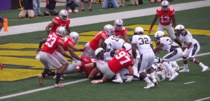 Buckeye defense led by Joey Bosa (97) stopped Navy at the goal line in the 2014 season opener for both teams.