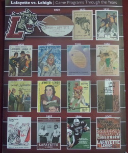 Lafayette-Lehigh Game Program depicting game programs over the years. The teams will meet in 2015 for the 151st time.