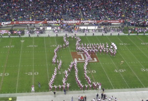 """The Temple Band's 'Walking Mummy"""" performs at halftime."""