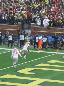 Jehu Chesson nears the goal line for Michigan's only touchdown of the game.