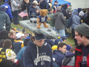 This young Pitt fan cruised in with the pride of the Panther fleet on his head, but it wasn't enough against Navy's overwhelming ground and air forces.