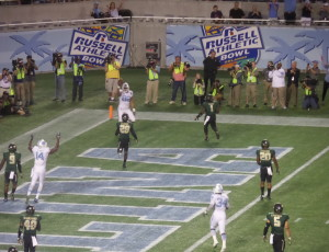 TE Brandon Fritts and UNC teammates celebrate first score of the Russell Athletic Bowl.