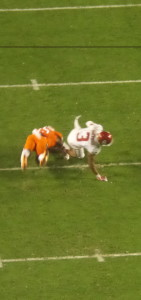 OU WR Sterling Shepard brought down with open field tackle in second half.
