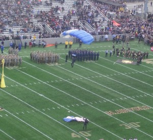 Like their sky divers, The air Force Falcon football team landed safely on Blaik Field at Michie Stadium.