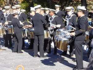 Navy drum line before the game in our parking lot.