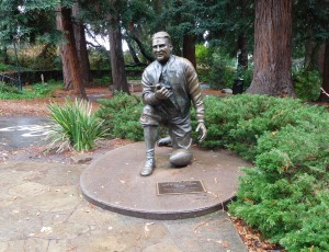 "A statue of Lynn ""Pappy"" Waldorf on The University of California campus."
