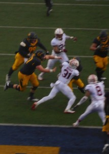 ILB Mustafa Branch stops a Cal RB near the goal line.