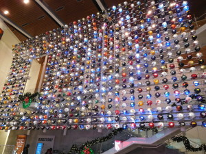 The wall of helmets when you first enter teh College Football Hall of Fame.